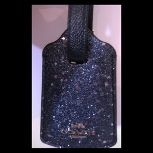 Coach navy glittered leather luggage tag